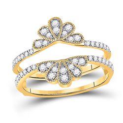 Womens Round Diamond Wedding Wrap Ring Guard Enhancer 3/8 Cttw 14kt Yellow Gold - REF-35R5X