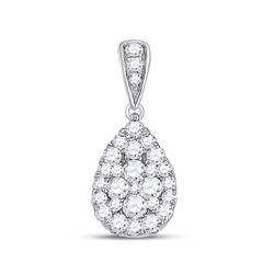 Womens Round Diamond Teardrop Cluster Pendant 1/2 Cttw 14kt White Gold - REF-27R9X