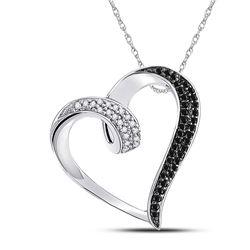 Womens Round Black Color Enhanced Diamond Heart Pendant 1/6 Cttw 10kt White Gold - REF-13K9Y