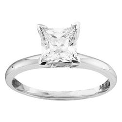 Womens Princess Diamond Solitaire Bridal Wedding Engagement Ring 1/4 Cttw 14kt White Gold - REF-31A5