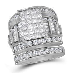 Princess Diamond Bridal Wedding Ring Band Set 4 Cttw 14kt White Gold - REF-340W5K