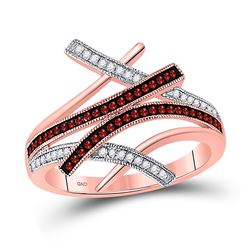 Womens Round Red Color Enhanced Diamond Bypass Fashion Ring 1/4 Cttw 10kt Rose Gold - REF-21X5A