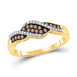 Womens Round Brown Diamond Band Ring 1/5 Cttw 10kt Yellow Gold - REF-16H5R