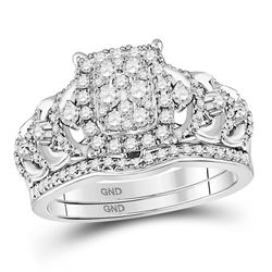 Round Diamond Bridal Wedding Ring Band Set 1 Cttw 14kt White Gold - REF-82W9K
