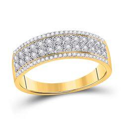 Womens Round Diamond Anniversary Band Ring 1/6 Cttw 10kt Yellow Gold - REF-23N5F
