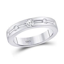 Womens Round Diamond Wedding Band 1/4 Cttw 14kt White Gold - REF-49H9R