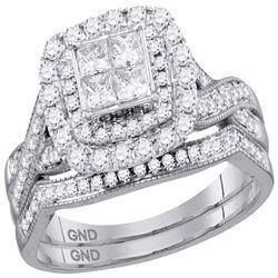Princess Diamond Halo Bridal Wedding Ring Band Set 1 Cttw 14kt White Gold - REF-93Y5N