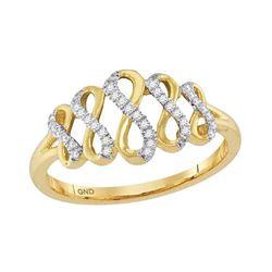 Womens Round Diamond Fashion Infinity Ring 1/10 Cttw 10kt Yellow Gold - REF-12N9F