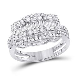 Womens Baguette Round Diamond Cluster Ring 7/8 Cttw 14kt White Gold - REF-76Y5N