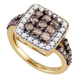 Womens Round Brown Diamond Square Cluster Ring 1-1/2 Cttw 10kt Rose Gold - REF-67A5M