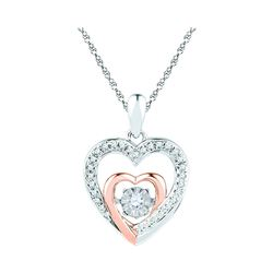 Womens Round Diamond Twinkle Moving Heart Pendant 1/10 Cttw 10kt Two-tone Gold - REF-16N9F