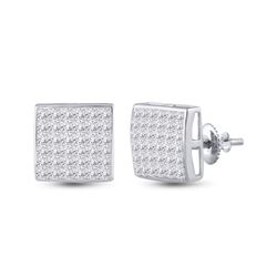 Womens Princess Diamond Square Cluster Earrings 2 Cttw 14kt White Gold - REF-104N9F
