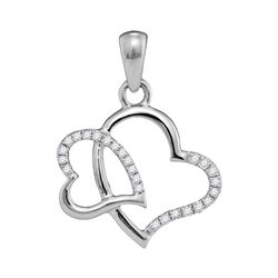 Womens Round Diamond Double Heart Pendant 1/10 Cttw 10kt White Gold - REF-7Y5N