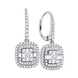 Womens Baguette Diamond Square Dangle Earrings 1 Cttw 18kt White Gold - REF-175Y5N