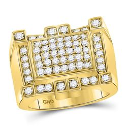 Mens Round Diamond Square Cluster Ring 1-1/2 Cttw 10kt Yellow Gold - REF-122N5F