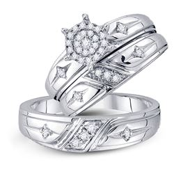 His Hers Round Diamond Cluster Matching Wedding Set 1/3 Cttw 10kt White Gold - REF-41H9R