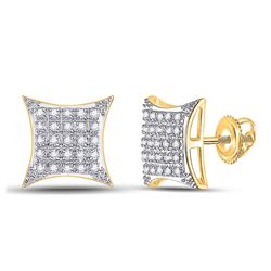 Womens Round Diamond Square Kite Stud Earrings 1/6 Cttw 10kt Yellow Gold - REF-12A5M