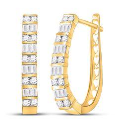 Womens Round Diamond Hoop Earrings 1 Cttw 10kt Yellow Gold - REF-54K5Y