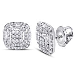 Womens Round Diamond Cushion Cluster Earrings 1/2 Cttw 14kt White Gold - REF-47A9M