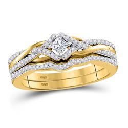 Princess Diamond Bridal Wedding Ring Band Set 1/3 Cttw 10kt Yellow Gold - REF-35W5K