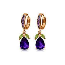 Genuine 14.3 ctw Multi-gemstone Earrings 14KT Rose Gold - REF-82P9H