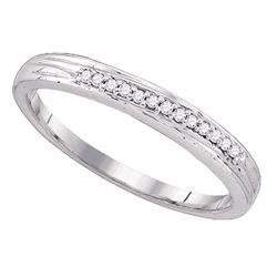 Round Pave-set Diamond Womens Simple 2mm Wedding Band 1/6 Cttw 10k White Gold - REF-13H5R
