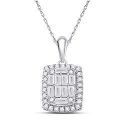 Womens Baguette Diamond Fashion Pendant 1/2 Cttw 14kt White Gold - REF-41X9A