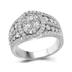 Womens Round Diamond Oval Cluster Ring 1-5/8 Cttw 10kt White Gold - REF-126A9M