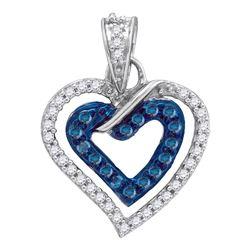 Womens Round Blue Color Enhanced Diamond Heart Pendant 1/4 Cttw 10kt White Gold - REF-12F9W