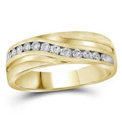 Mens Round Diamond Wedding Band Ring 1 Cttw 10kt Yellow Gold - REF-101M5H