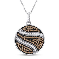 Womens Round Brown Diamond Circle Cluster Pendant 3/4 Cttw 10kt White Gold - REF-21K5Y