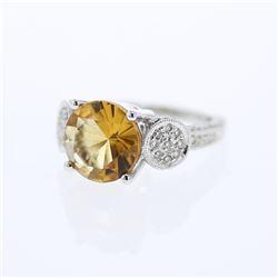 4.45 CTW Citrine & Diamond Ring 18K White Gold - REF-79N7Y