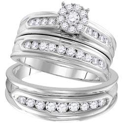 His Hers Round Diamond Cluster Matching Wedding Set 1 Cttw 14kt White Gold - REF-101R5X