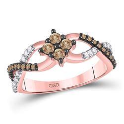 Womens Round Brown Diamond Cluster Twist Ring 1/2 Cttw 10kt Rose Gold - REF-21A5M