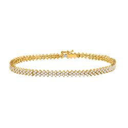 Womens Round Diamond Tennis Bracelet 2-1/2 Cttw 14kt Yellow Gold - REF-175A5M