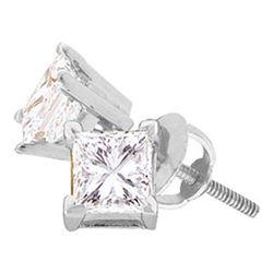 Womens Princess Diamond Solitaire Earrings 3/4 Cttw 14kt White Gold - REF-68W5K