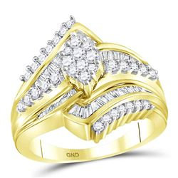 Round Diamond Oval Cluster Bridal Wedding Engagement Ring 1 Cttw 14kt Yellow Gold - REF-87R9X