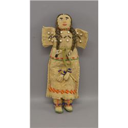 NATIVE AMERICAN BEADED HIDE DOLL