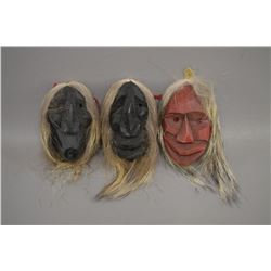 THREE CAYUSA  INDIAN MASKS