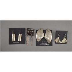 FOUR PAIR OF STERLING SILVER EARRINGS