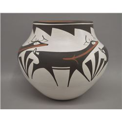 NATIVE AMREICAN ZUNI POTTERY BOWL BY BY ANDERSON AND AVELIE PEYNESTA