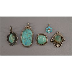 FIVE NATIVE AMERICAN NAVAJO PENDANTS