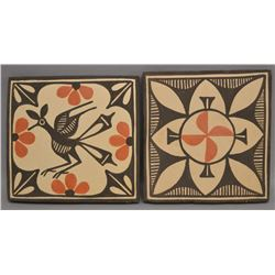 TWO NATIVE AMERICAN ZIA POTTERY TILES BY SOPHIA AND LOIS MEDINA