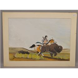 NATIVE AMERICAN PLAINS INDIAN PAINTING BY SWIFT