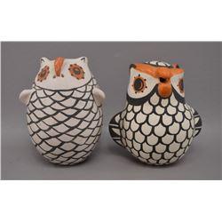 NATIVE AMERICAN ACOMA POTTERY OWLS