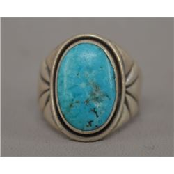 NATIVE AMERICAN NAVAJO SILVER AND TURQOUISE RING BY FRED THOMPSON