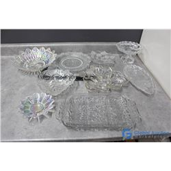Clear Glass Collection - (2) Iridescent Pieces