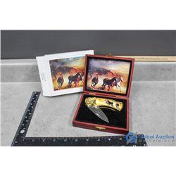 Decorative Horse Pocket Knife w/Case