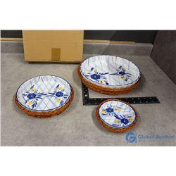 Set of (3) Decorative Ceramic Pie Plates