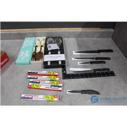 (8) Kitchen Knives & (2) Utensil Sets